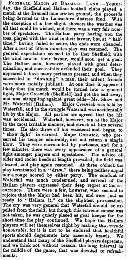 The match report from the Sheffield Independent, courtesy of The British Newspaper Archive